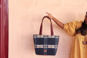 Blue Plaid Dump It Tote