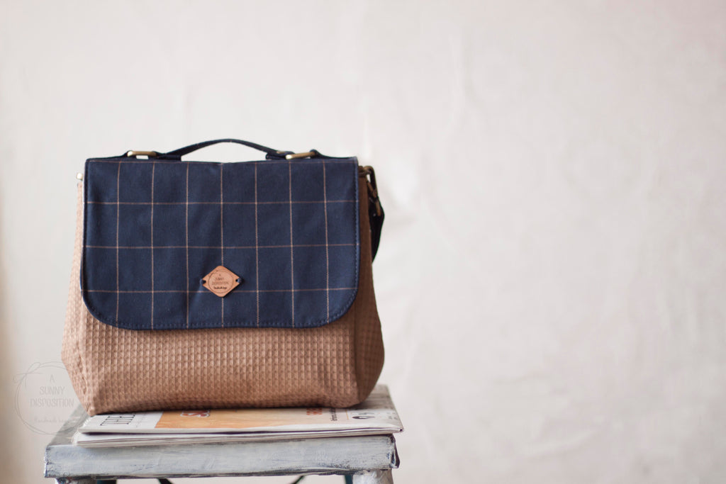 Blue Brown Grids Everyday Satchel