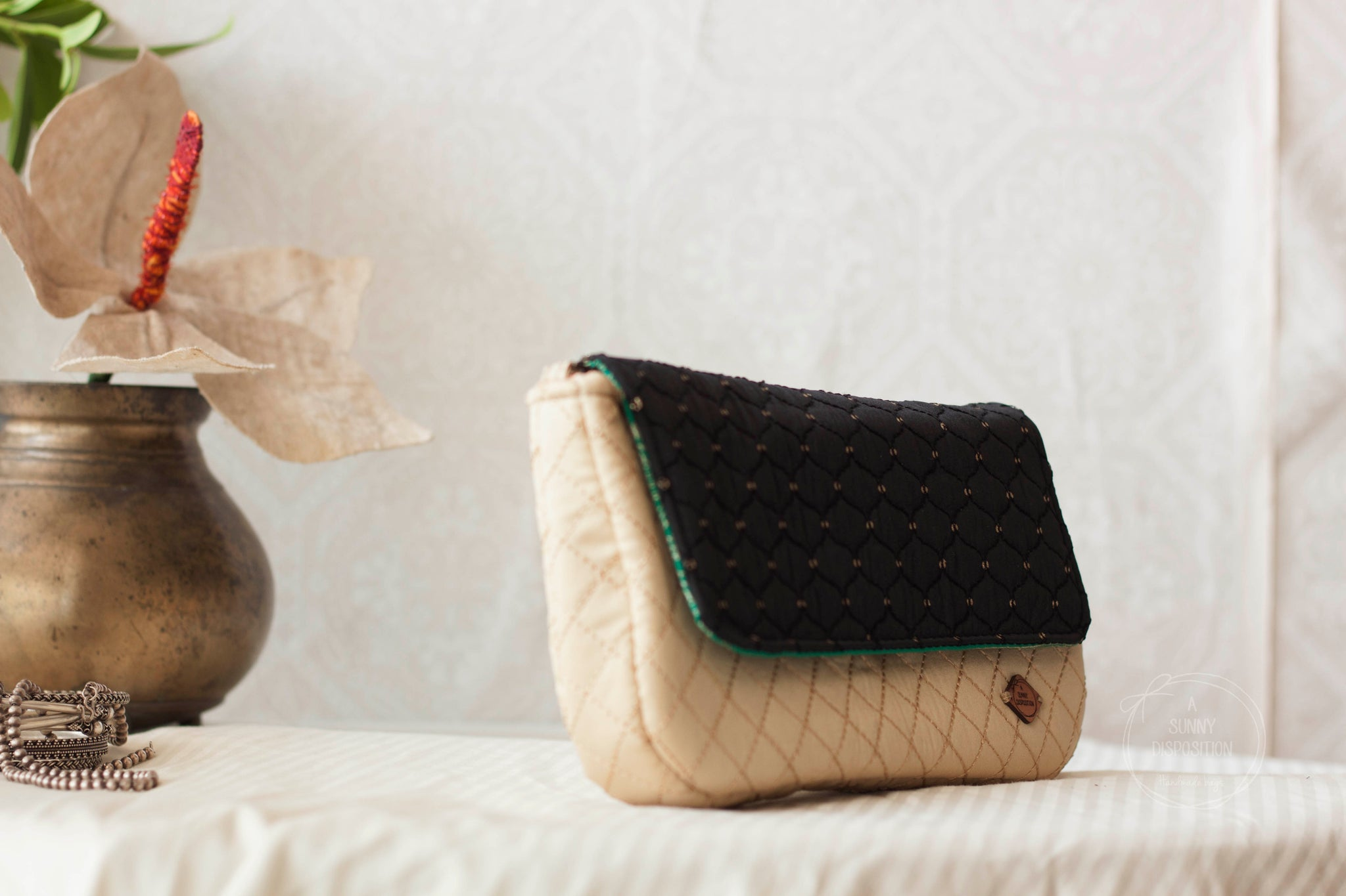Black & Beige Quilted Clutch