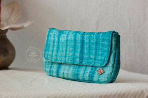 Blue Tie Dye Silk Clutch
