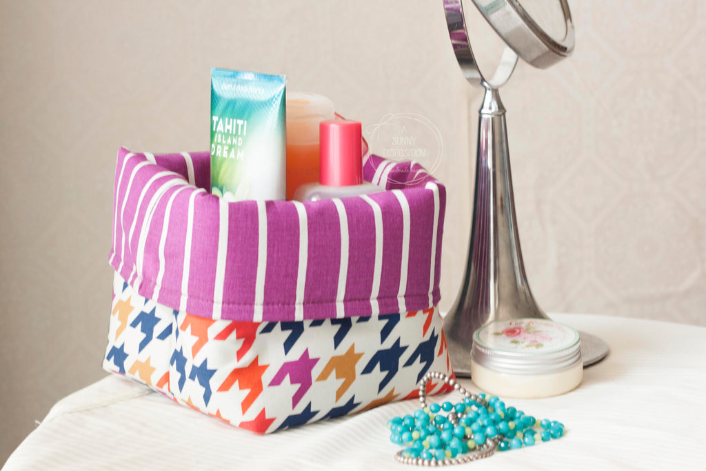 Houndstooth Fabric Basket