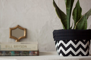 Black and White Chevron Fabric Basket