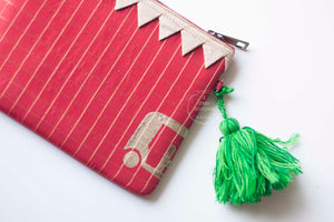 Block Printed Zip clutches- Red & Gold Check Silk with block printed autos