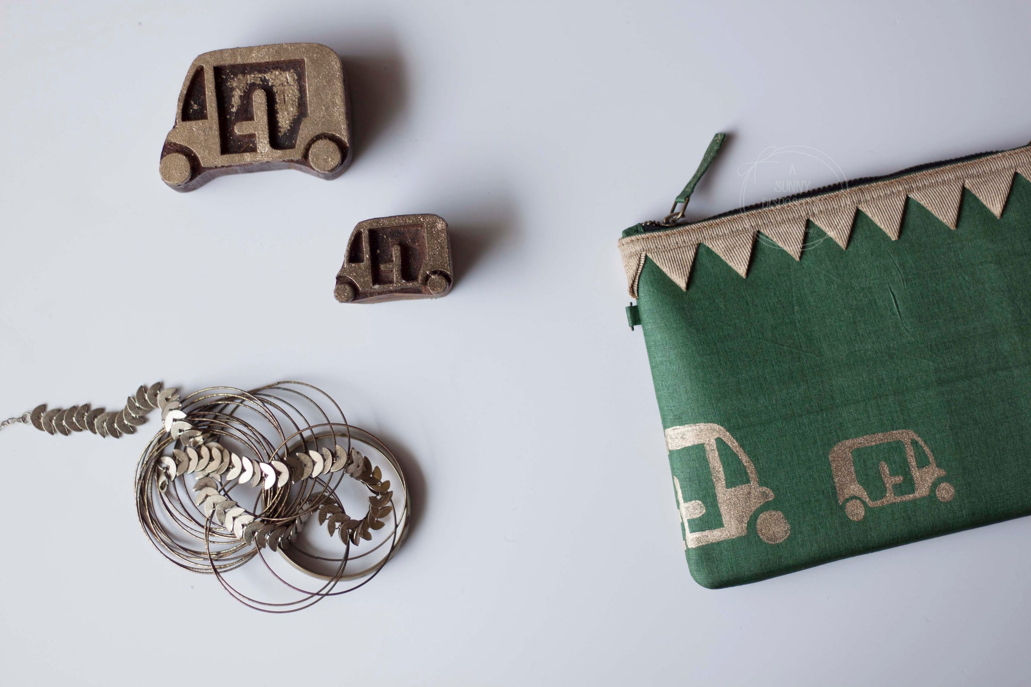 Block Printed Zip clutches- Green Silk with block printed autos