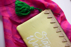 Block Printed Zip clutch- Neon green with text