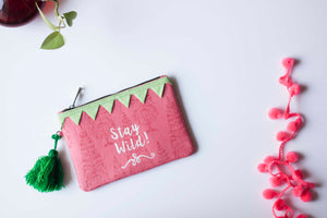 Block Printed Zip clutch- Powder Pink with text