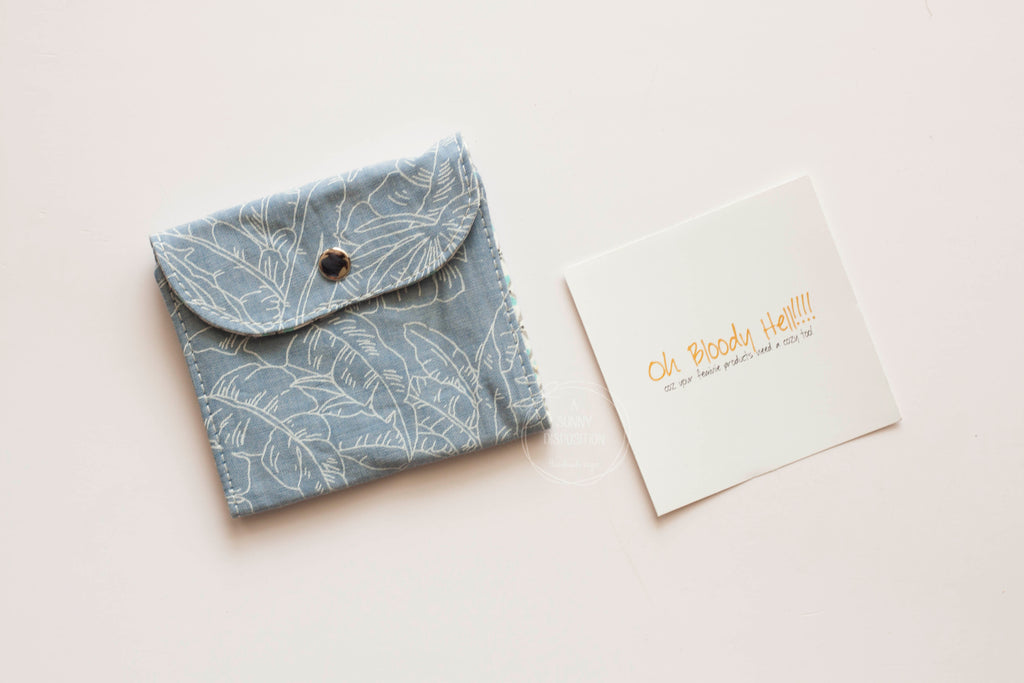 Leaves on Chambray  Privacy Pouch