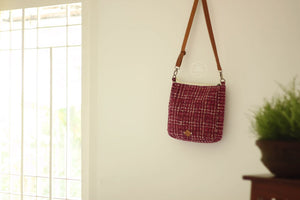 Wine red abstract checks Sling Bag