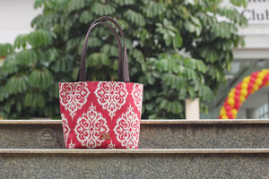 Damask on  Red Dump It Tote