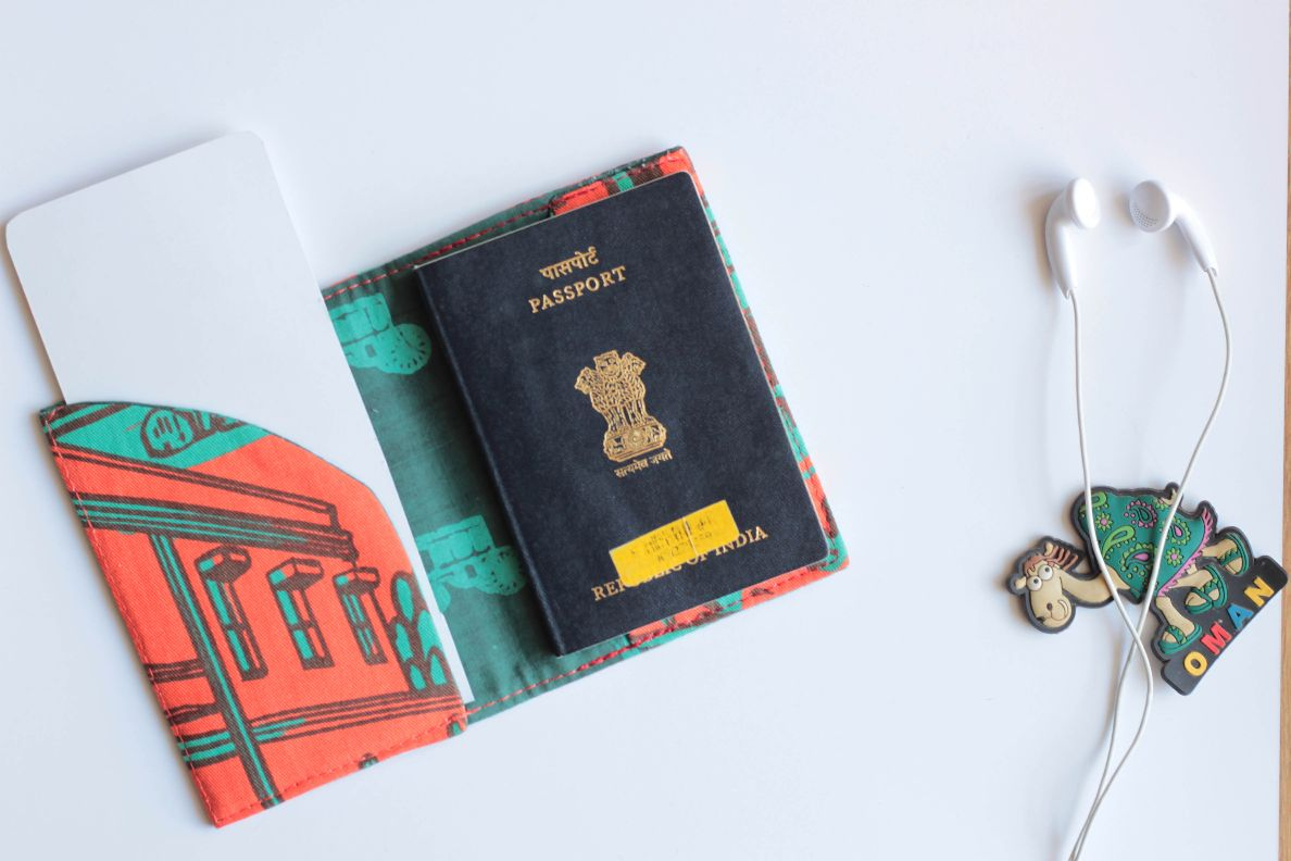 Orange Teal Buildings  Passport Sleeve
