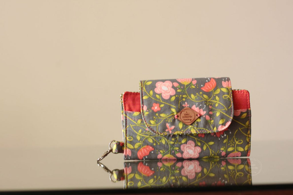 Coral Pink Floral on Grey Phone Wallet