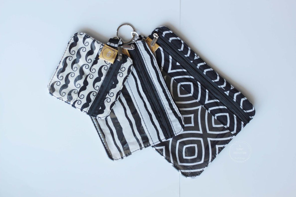 Blacks, Whites & Mushtaches Trio Pouch