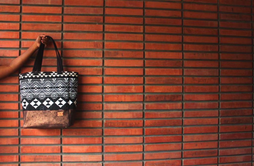 Black White Aztec Prints With Bronze faux leather Accent Jet Setter Tote