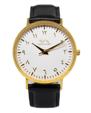 Black Leather - Gold - White - NORTH ACCENT Inc., Watch watches men women luxury arabic watch classic minimalist,