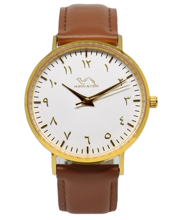 Caramel Leather - Gold - White - NORTH ACCENT Inc., Watch watches men women luxury arabic watch classic minimalist,