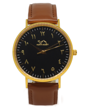 Caramel Leather - Gold - Black - Leen Special Edition - NORTH ACCENT Inc., Watch watches men women luxury arabic watch classic minimalist,