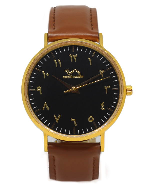 Caramel Leather - Gold Black - NORTH ACCENT Inc., Watch watches men women luxury arabic watch classic minimalist,