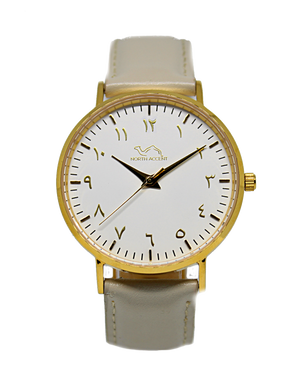 Cloud Grey Leather - Gold White - NORTH ACCENT Inc., Watch watches men women luxury arabic watch classic minimalist,