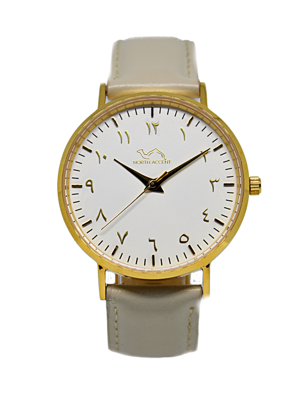 Cloud Grey - Gold White - NORTH ACCENT Inc., Watch watches men women luxury arabic watch classic minimalist,