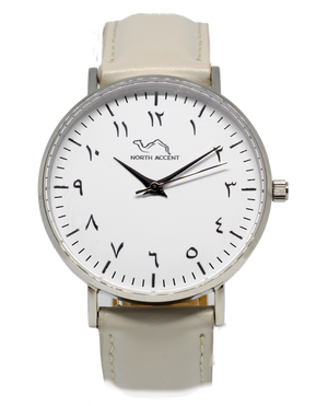 Cloud Grey Leather - Silver - NORTH ACCENT Inc., Watch watches men women luxury arabic watch classic minimalist,