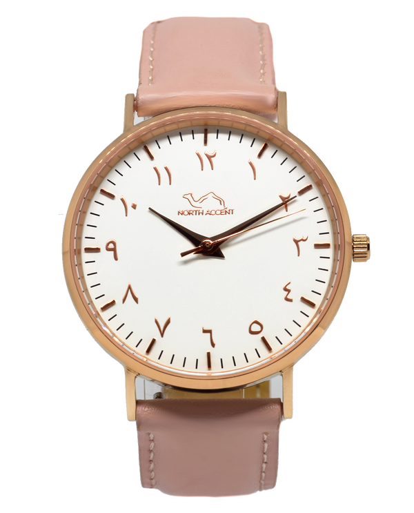 Coral Leather - Rose Gold - NORTH ACCENT Inc., Watch watches men women luxury arabic watch classic minimalist,