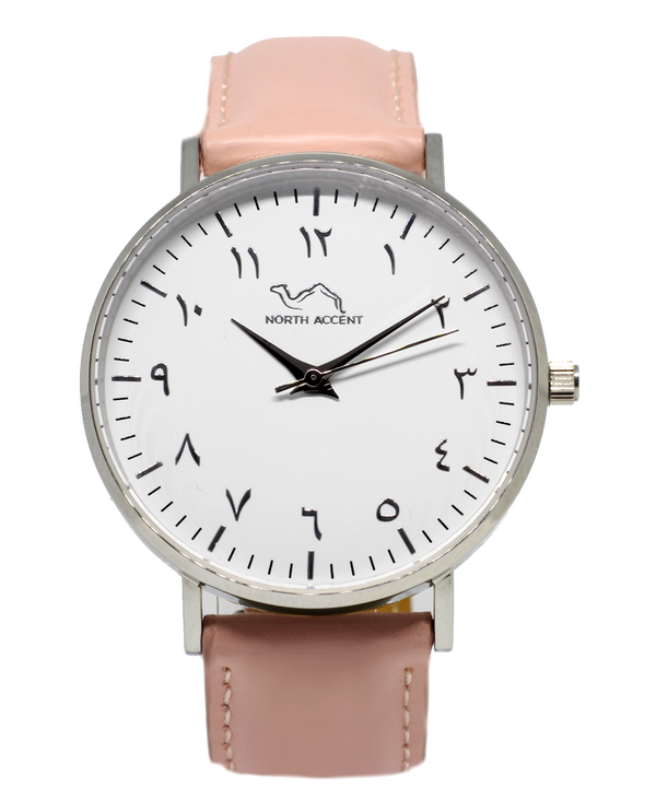 Coral Leather - Silver - NORTH ACCENT Inc., Watch watches men women luxury arabic watch classic minimalist,