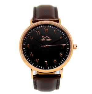 Espresso Leather - Rose Black - NORTH ACCENT Inc., Watch watches men women luxury arabic watch classic minimalist,