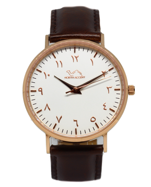 Espresso Leather - Rose Gold - White - NORTH ACCENT Inc., Watch watches men women luxury arabic watch classic minimalist,