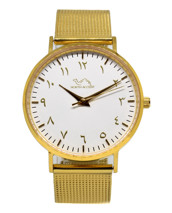 Gold Stainless Steel - Gold - White - NORTH ACCENT Inc., Watch watches men women luxury arabic watch classic minimalist,