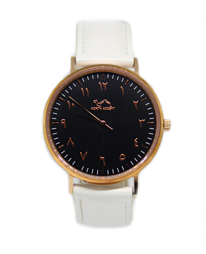 White Leather - Rose Black - NORTH ACCENT Inc., Watch watches men women luxury arabic watch classic minimalist,