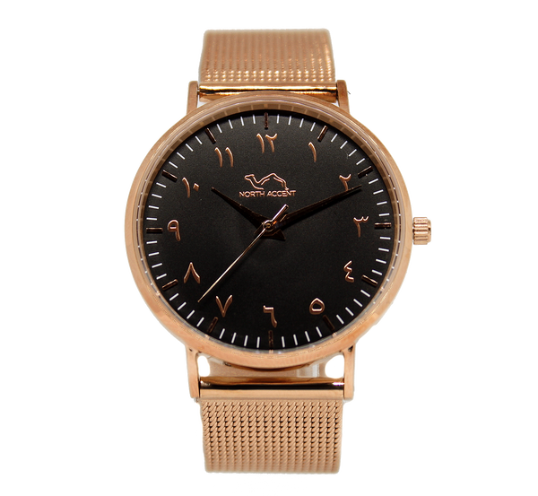 Rose Gold Stainless Steel - Rose Black - NORTH ACCENT Inc., Watch watches men women luxury arabic watch classic minimalist,