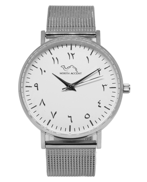 Silver Stainless Steel - Silver - White - NORTH ACCENT Inc., Watch watches men women luxury arabic watch classic minimalist,