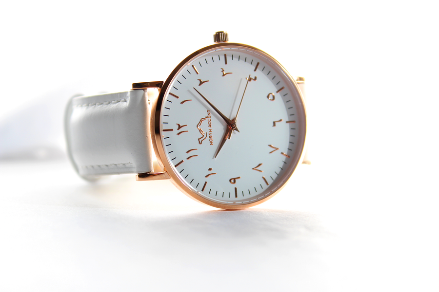 White Leather - Rose Gold - White - NORTH ACCENT Inc., Watch watches men women luxury arabic watch classic minimalist,