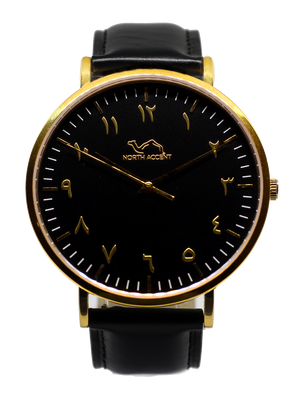 Black Leather - Gold - Black - NORTH ACCENT Inc., Watch watches men women luxury arabic watch classic minimalist,