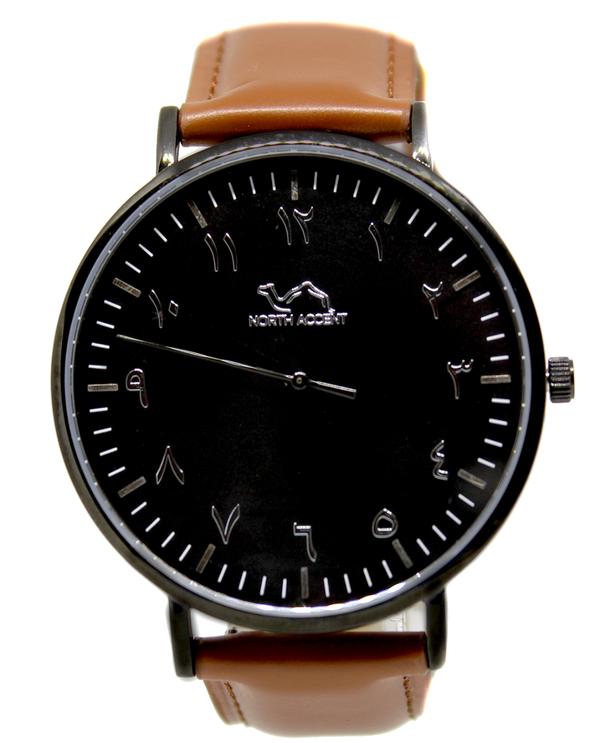 Caramel Leather - Black - - NORTH ACCENT Inc., Watch watches men women luxury arabic watch classic minimalist,