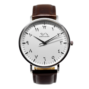 Espresso Leather - Silver - White - NORTH ACCENT Inc., Watch watches men women luxury arabic watch classic minimalist,