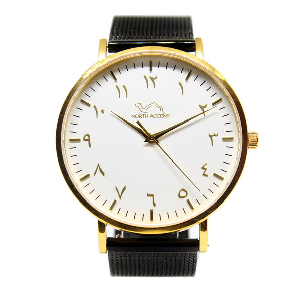 Black Stainless Steel - Gold White - NORTH ACCENT Inc., Watch watches men women luxury arabic watch classic minimalist,