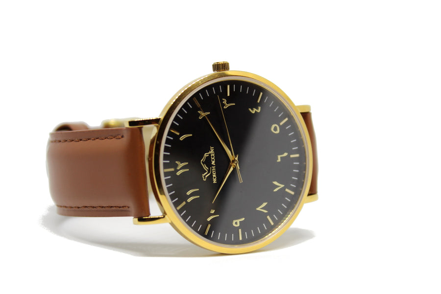 Caramel Leather - Gold - Black - NORTH ACCENT Inc., Watch watches men women luxury arabic watch classic minimalist,