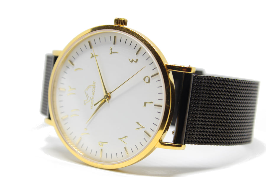 Black Stainless Steel - Gold - White - Spencer Special Edition - NORTH ACCENT Inc., Watch watches men women luxury arabic watch classic minimalist,