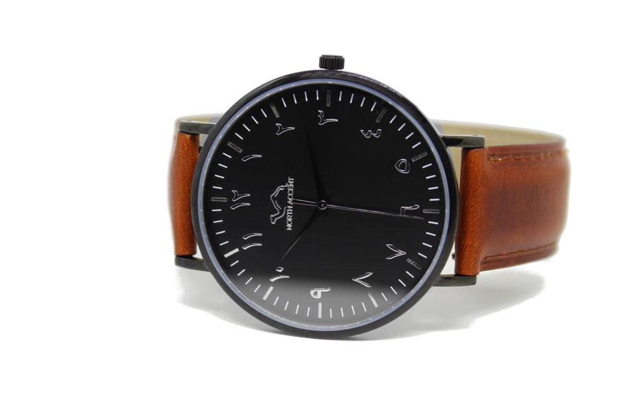 Copper Leather - Black - NORTH ACCENT Inc., Watch watches men women luxury arabic watch classic minimalist,