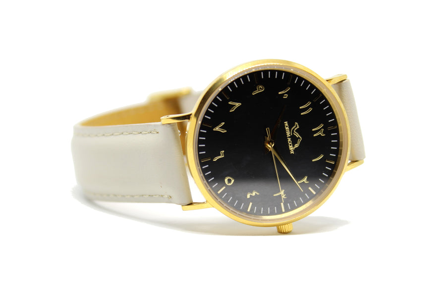 Cloud Grey Leather - Gold - Black - NORTH ACCENT Inc., Watch watches men women luxury arabic watch classic minimalist,