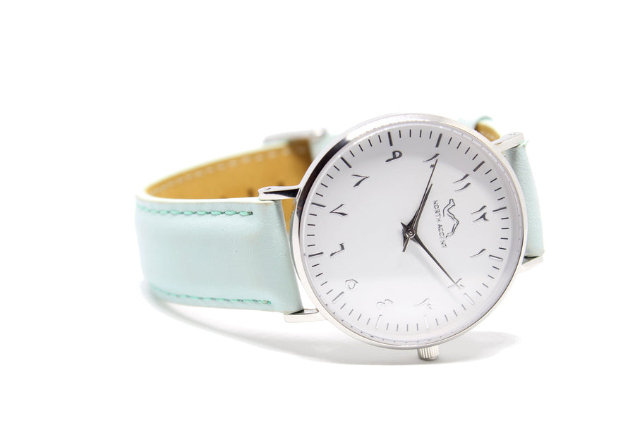 Aqua Leather - Silver - NORTH ACCENT Inc., Watch watches men women luxury arabic watch classic minimalist,