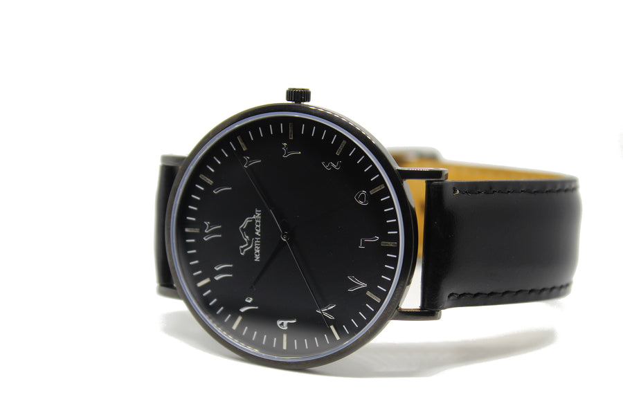 Black Leather - Black - Gilbert SE - NORTH ACCENT Inc., Watch watches men women luxury arabic watch classic minimalist,