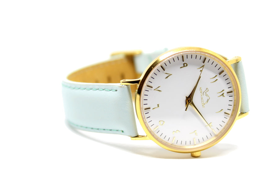 Aqua Leather - Gold White - NORTH ACCENT Inc., Watch watches men women luxury arabic watch classic minimalist,