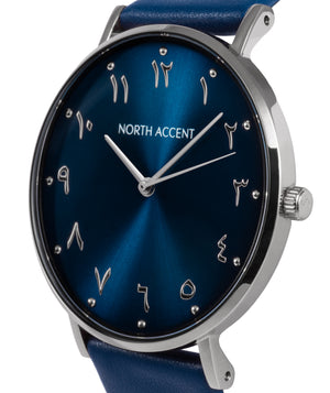 Azure Silver | Blue Leather - NORTH ACCENT Inc., Watch watches men women luxury arabic watch classic minimalist,