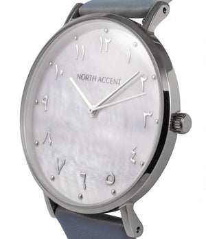 Pearl Silver | Gray Leather - NORTH ACCENT Inc., Watch watches men women luxury arabic watch classic minimalist,