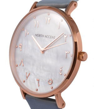Pearl Rose | Espresso Leather - NORTH ACCENT Inc., Watch watches men women luxury arabic watch classic minimalist,