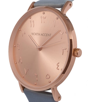 Soleil Rose | White Leather - NORTH ACCENT Inc., Watch watches men women luxury arabic watch classic minimalist,