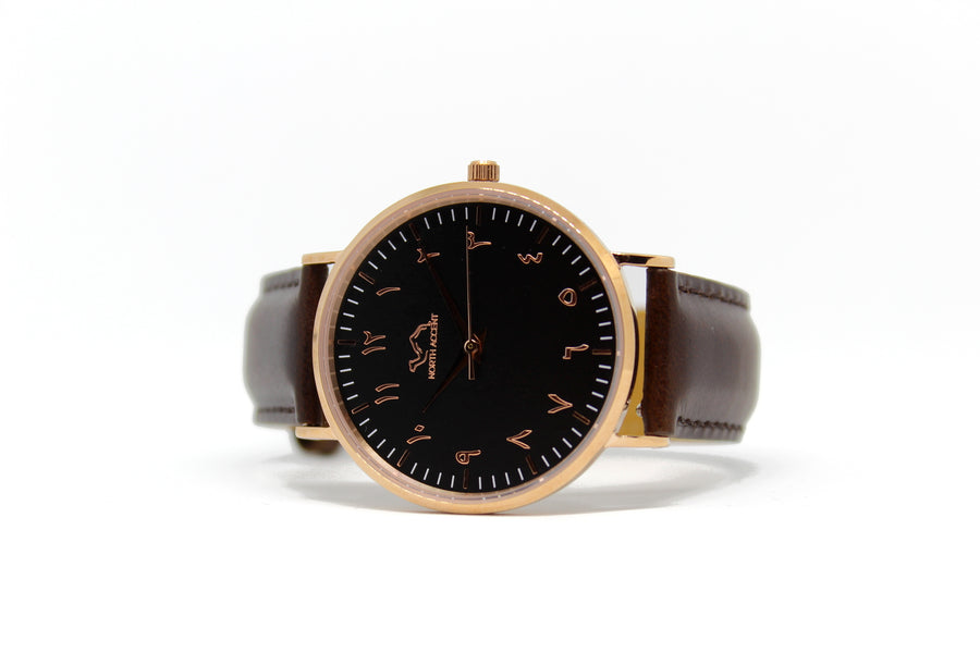 Espresso Leather - Rose Gold - Black - NORTH ACCENT Inc., Watch watches men women luxury arabic watch classic minimalist,