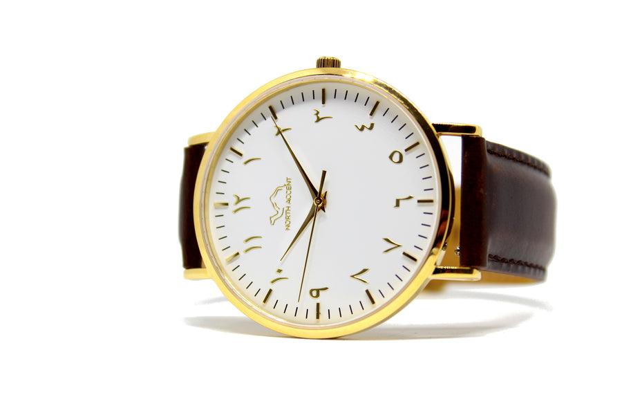 Espresso Leather - Gold - White - NORTH ACCENT Inc.